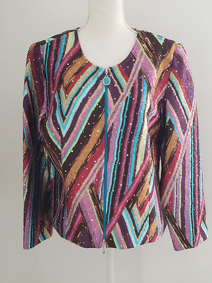 Joseph Ribkoff Multi Color Silky Knit Crystal Embellished 2-Way Zip Jacket
