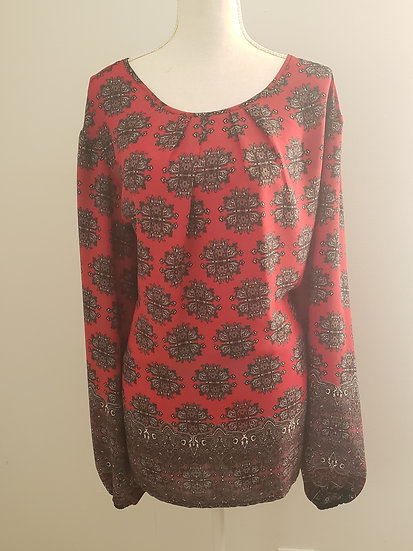Cato Red / Black Round Neck Long Sleeve Elastic Cuff Floral Blouse