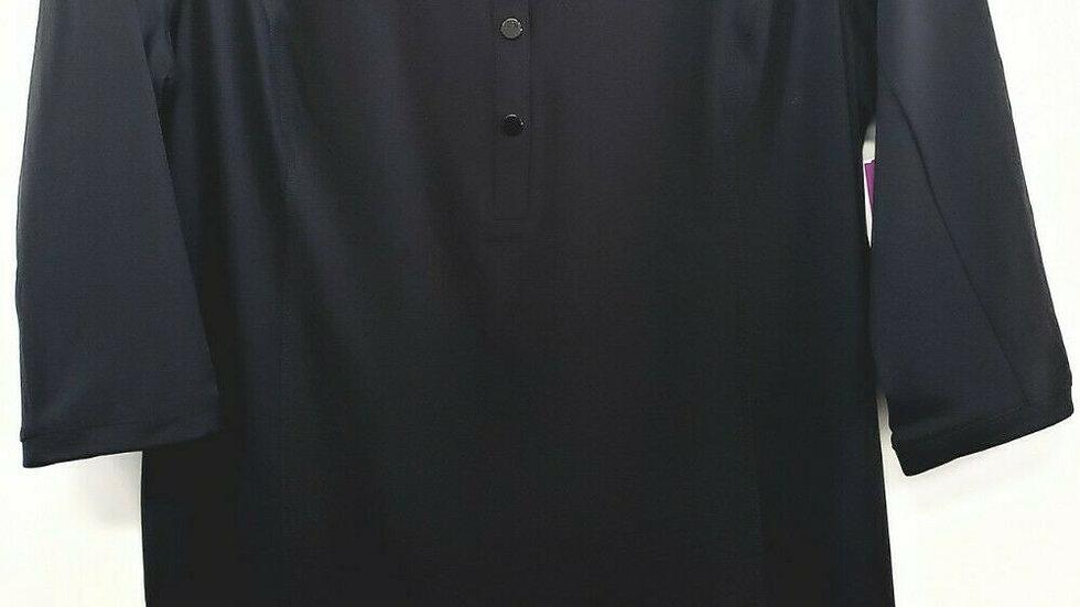 Chico's Zenergy Black V Neck 3/4 Sleeve Shift Dress UPF 50+ Fabric