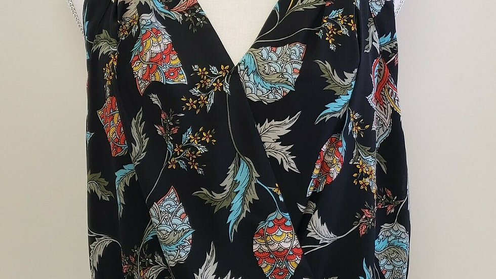 New York & Company Black Floral V Neck Banded Hem Sleeveless Summer Top