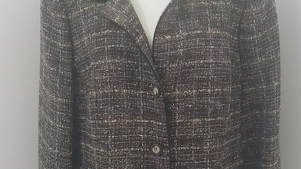 Nina Mclemore Brown Tweed Button Front Collared Wool/Silk Jacket Blazer
