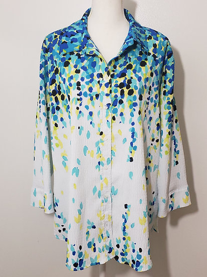 Alia White Blue Spot Button Front Collared Long Sleeve Textured Blouse