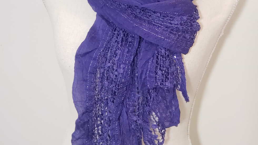 Coldwater Creek Purple Metallic Thread Mesh Rolled Edge Scarf