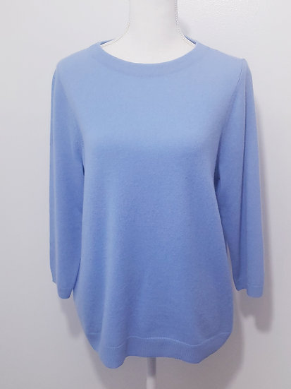 Talbots Blue Round Neck 3/4 Sleeve Cashmere Audrey Sweater