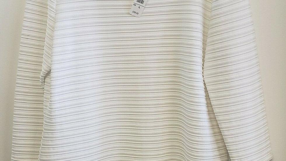 Talbots Optic White Raised Ribbed Design Bateau Neck Long Sleeve Top