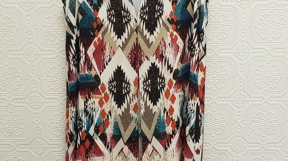 Kay Celine Multi Color Aztec Pattern V Neck Sleeveless Shift Dress