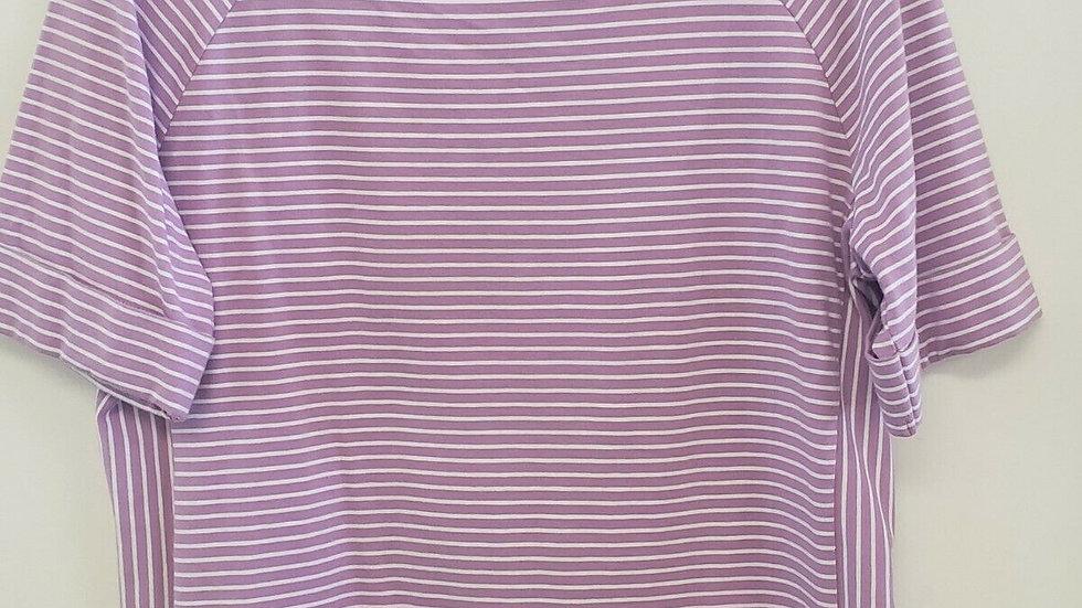Talbots Purple White Stripe Bateau Neck Short Sleeve Tee Top