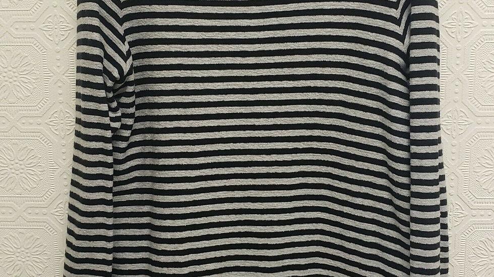 J Jill Gray & Black Cotton Striped Round Neck Long Sleeve Top