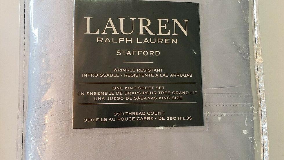 Ralph Lauren Stafford 350TC Cotton Wrinkle Resistant Light Blue Sheet Set - King