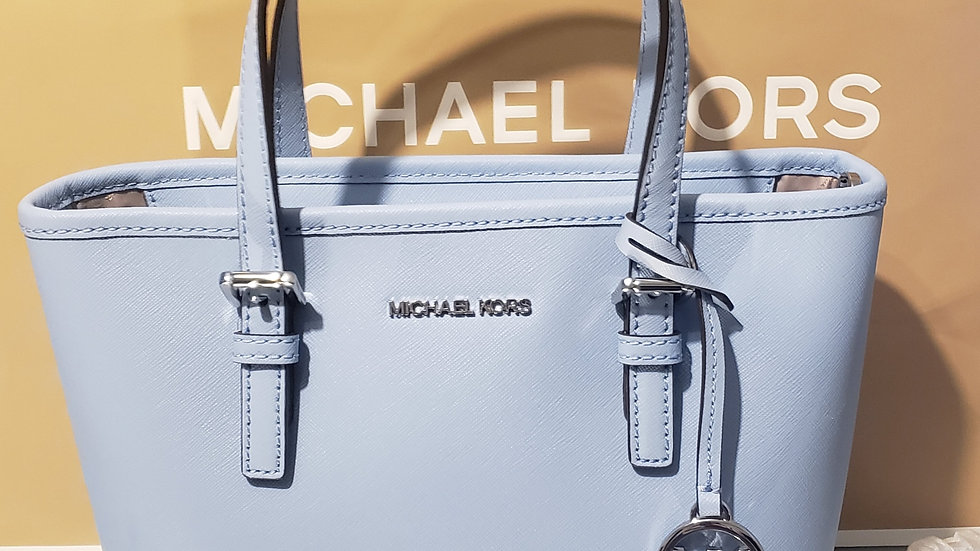 Michael Kors MK Carryall Convertible Jet Set Travel Leather Tote French Blue