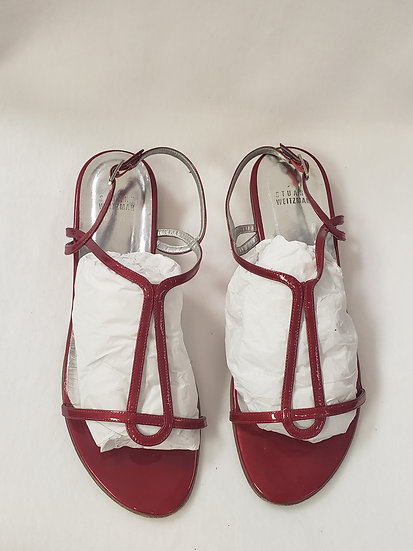 Stuart Weitzman Sling back Open Toe Side Buckle Red Leather Sandal