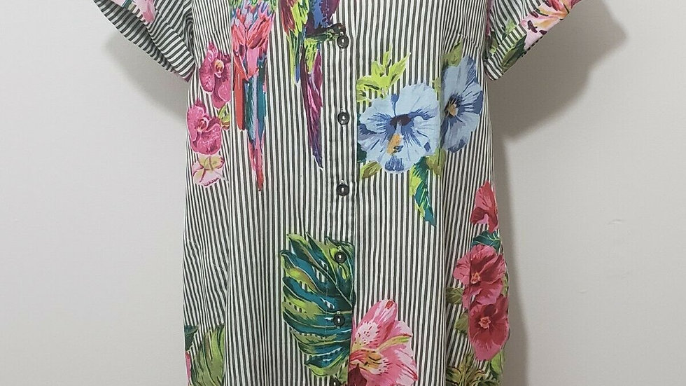 Parsley & Sage Striped Floral Marina Button Front Short Sleeve Collared Tunic