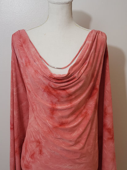 Cato Woman Summer Coral Scoop Neck Textured 3/4 Sleeve Blouse