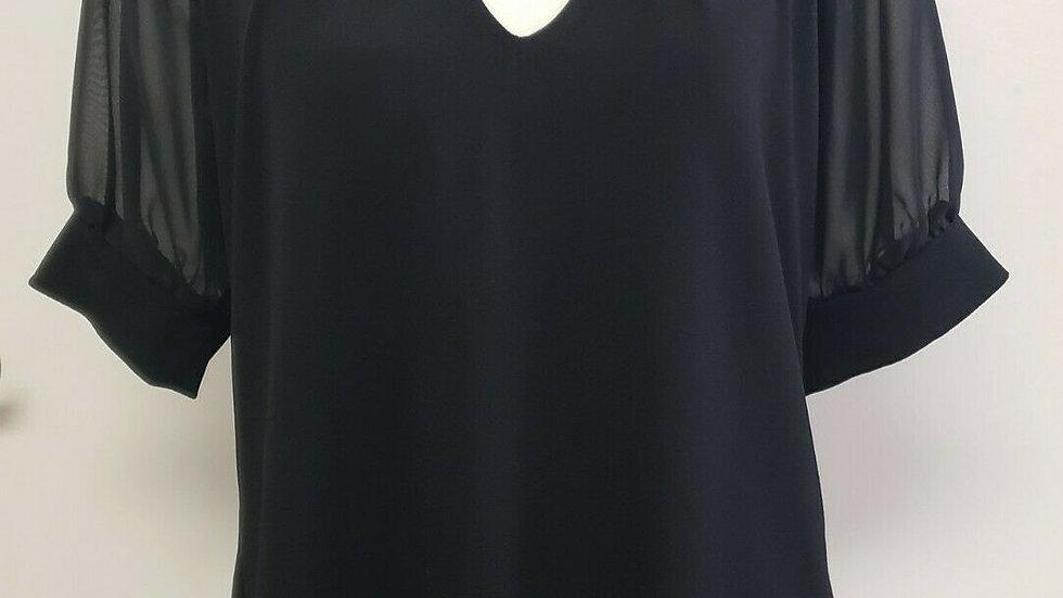 New York & Company Black Mesh Bow-Neck Short Sleeve Top