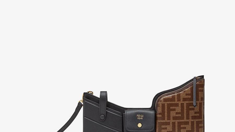 Fendi 3 Pocket Mini Bag Black / Brown Zucca Black Leather Messenger Bag NEW