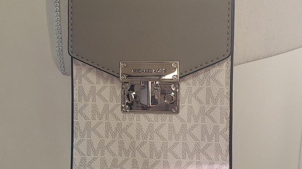 Michael Kors Rose Leather Bright White Signature Small NS Phone Crossbody Bag