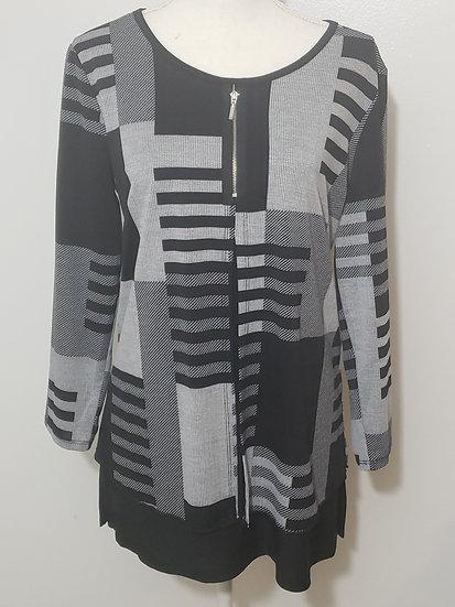 Ali Miles Black / Grey Round Neck Long Sleeve Multi Abstract  Tunic