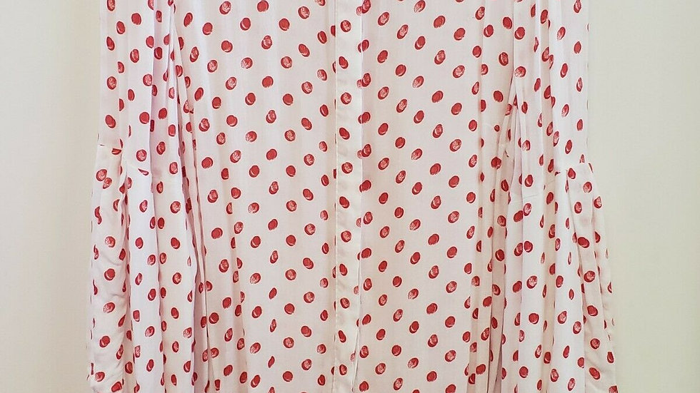 Crown & Ivy Pink White Polka Dot Button Front Collared Long Sleeve Top