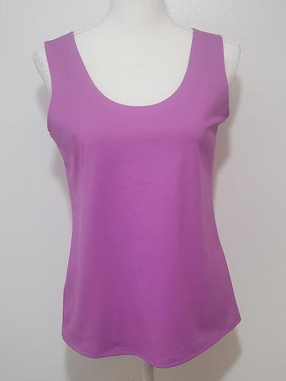 Chico's Purple U Neck Solid Sleeveless Jersey Knit Shell Top