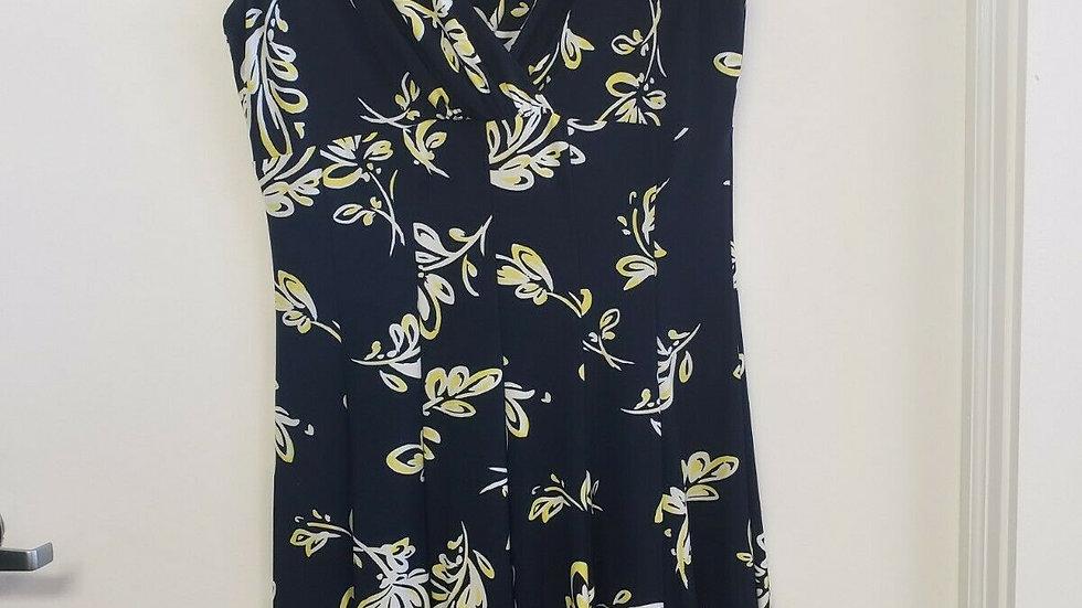 Lauren Ralph Lauren Blue Floral V Neck A-line Cap Sleeve Knee Lngth Dress