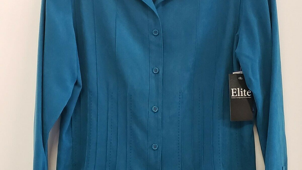 Talbots Teal Faux Suede Button Front Collared Long Sleeve Top
