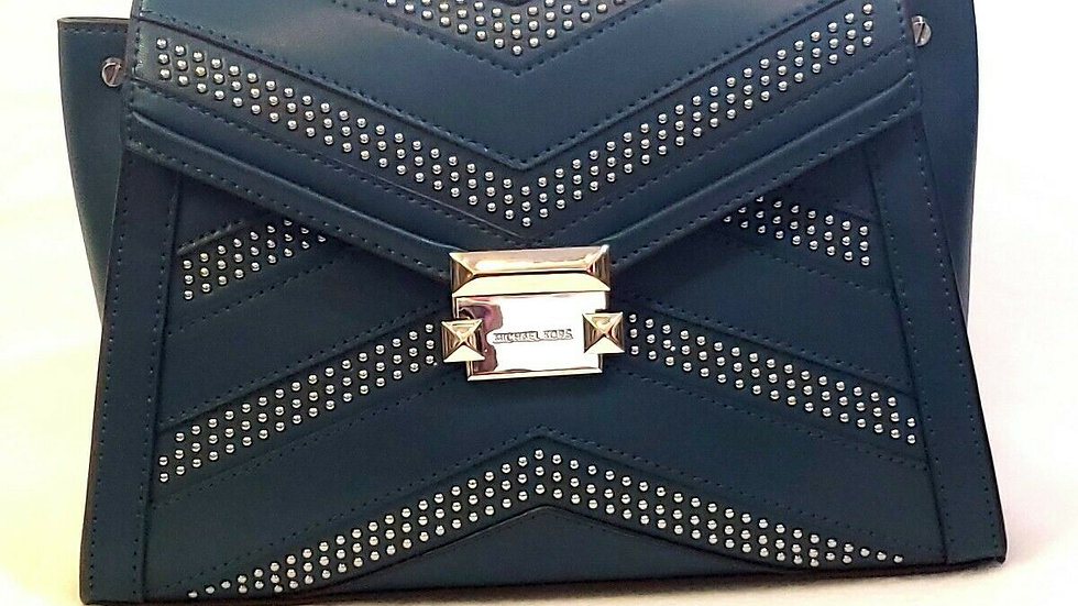 ~Beautiful~ Michael Kors Blue/Stud Leather Whitney Top Handle Satchel
