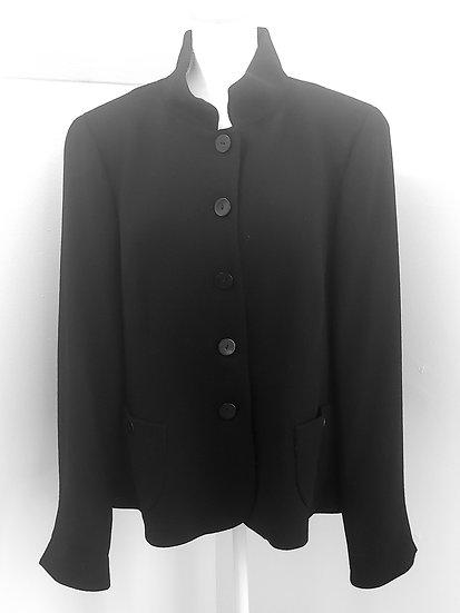 Nina Mclemore Black Button Front Collared Wool/Silk Jacket