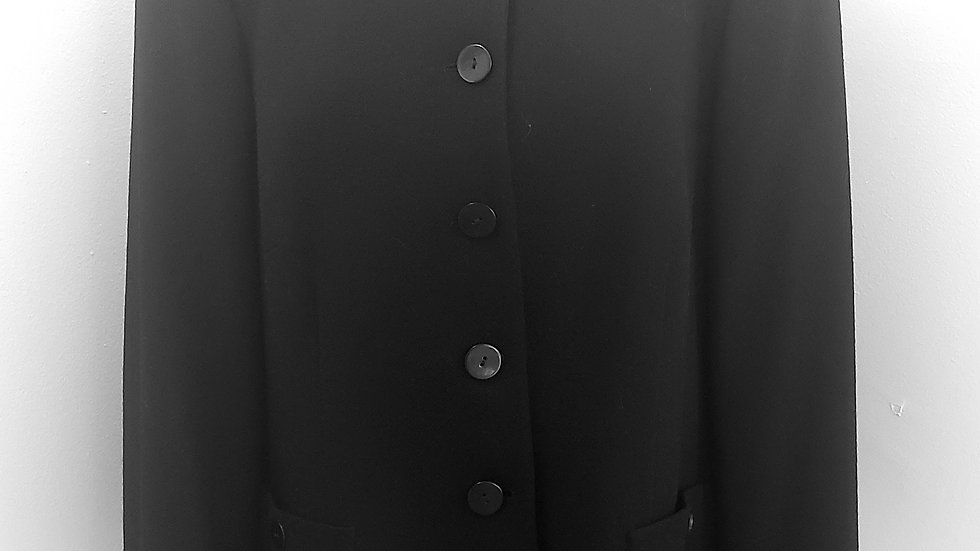 Nina Mclemore Black Button Front Collared Wool/Silk Jacket