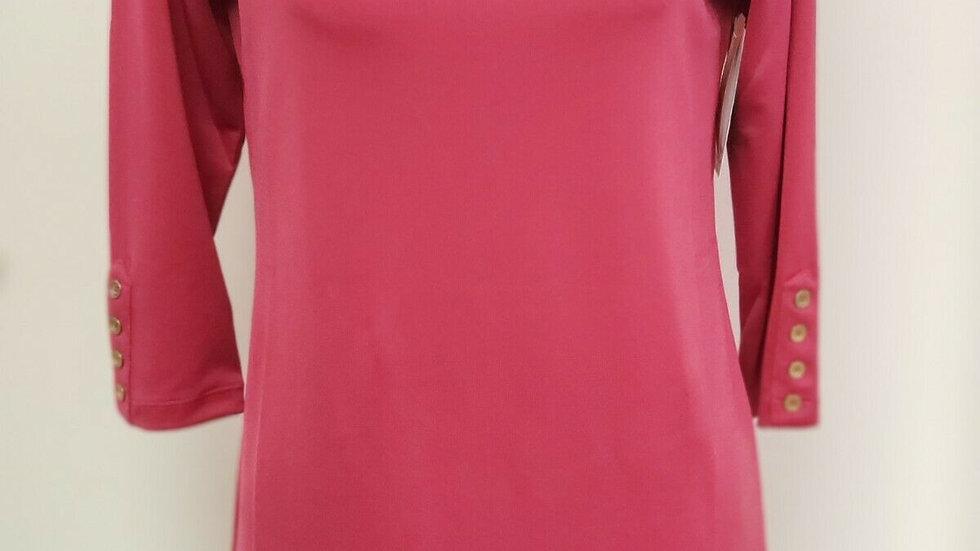 Susan Graver Pink Bateau Neck 3/4 Sleeve Liquid Knit Tunic