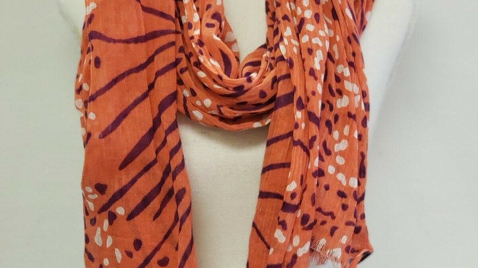 Banana Republic Jssa Collection Orange Cotton Abstract Cotton Scarf Wrap