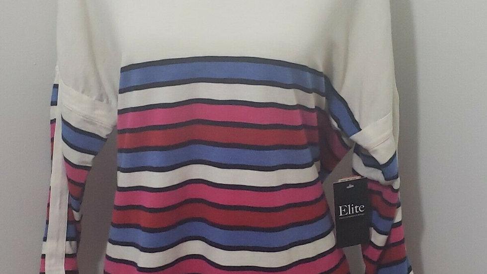 Talbots Striped V Neck Long Sleeve Drop Shoulder Casual Top