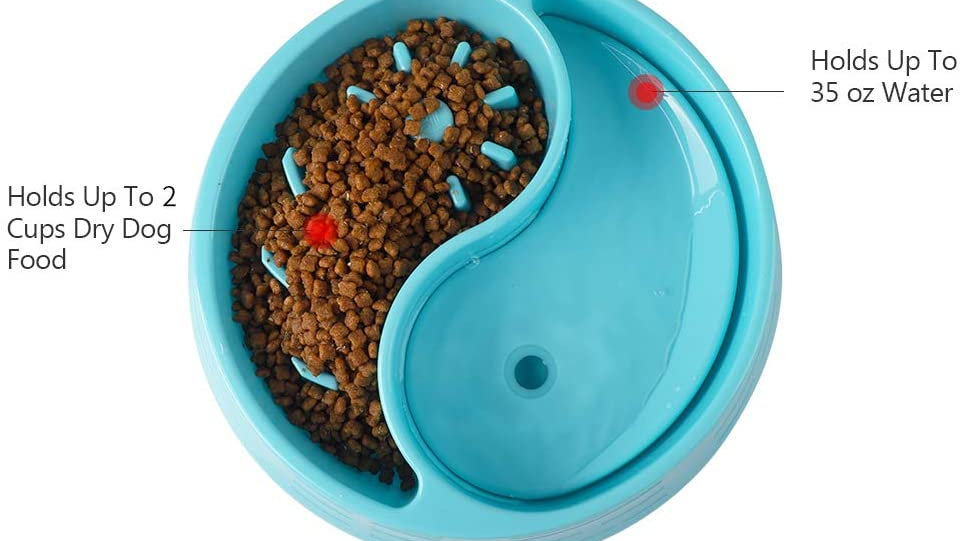 I'm a Slow Eating Dog Bowl,Suitable for Dog Food and Water Plastic Double Bowls