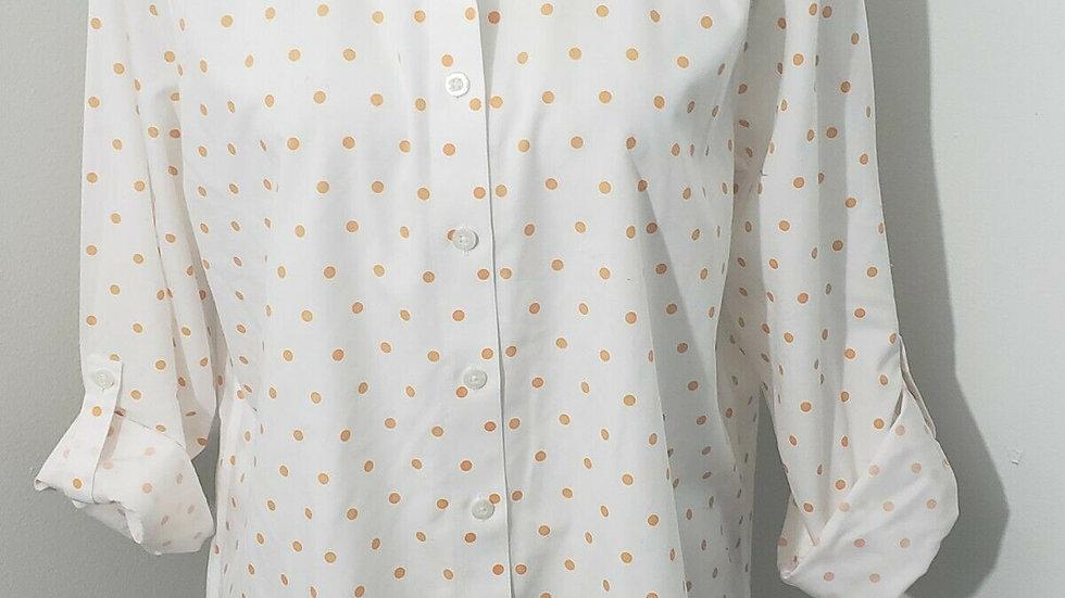 Chico's White Orange Polka Dot Button Front Long Sleeve No-Iron Top