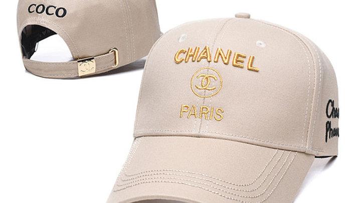 Chanel Tan Gold Logo Embroidered Baseball Cap / Hat