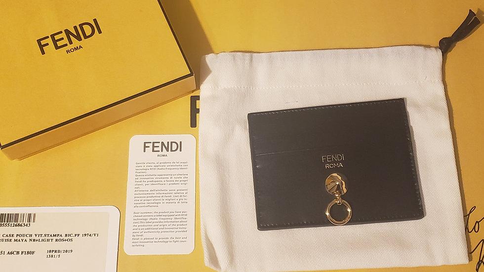 Fendi Black / Gold Leather Card Holder Key Case T.Cruise Maya
