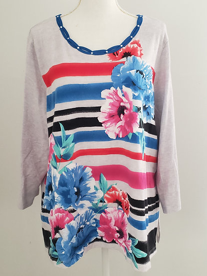 Alfred Dunner Striped Floral Soft Knit Embellished Strap Neck 3/4 Sleeve Blouse