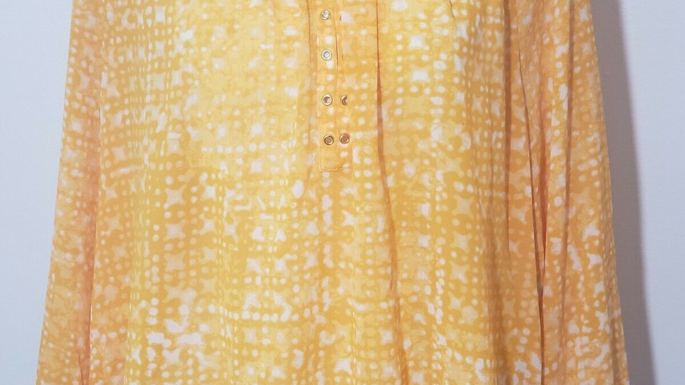 Michael Kors Yellow White Round Neck Long Sleeve Sheer Top