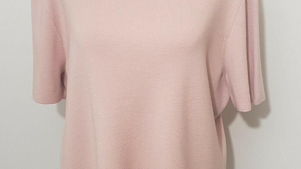 Dana Buchman Pink Turtleneck Knit Short Sleeve Wool Top