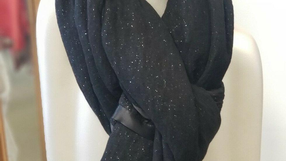 """Giorgio Armani Black Silver Sparkle Wool Silk Blend Scarf Pashmina Wrap 86"""" x42"""""""