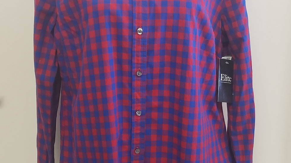 Talbots Red Blue Plaid Button Front Collared Long Sleeve Blouse