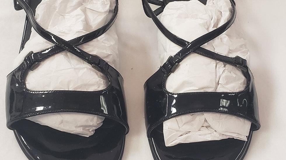Stuart Weitzman Sling back Open Toe Side Buckle Black Leather Sandal