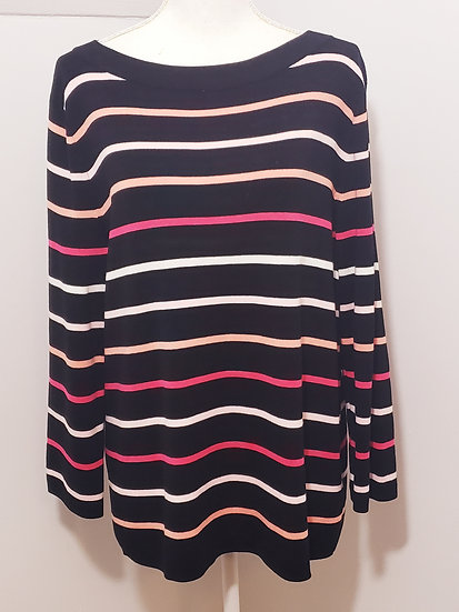 Talbots Black Stripe Round Neck Long Sleeve Light Weight Sweater