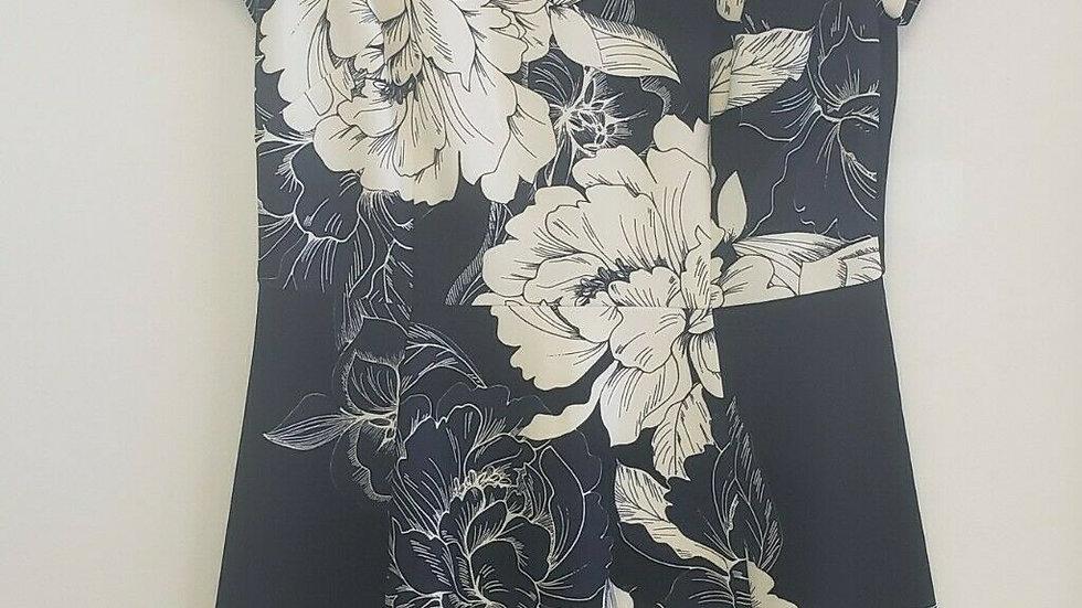 Eliza J. Black Cream Floral round Neck A-Line Short Sleeve Dress