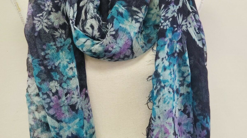 Coldwater Creek Multi Floral Frayed Edge Light Weight Scarf Wrap