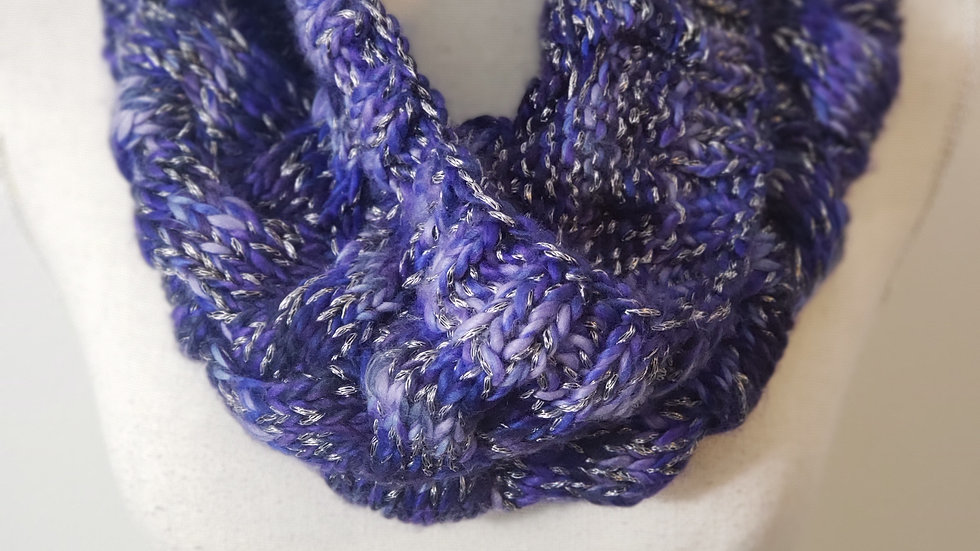 Coldwater Creek Purple Frosted Infinity Knitted Scarf Muffler