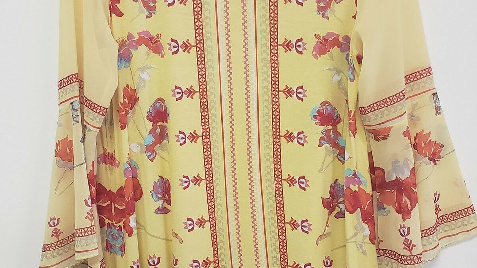 Multiples Yellow Floral V Neck Long Bell Sleeve Spring Summer Top