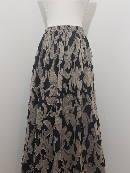 IC Collection Taupe Black Cutout Elastic Waist Pocket Detail Long Skirt