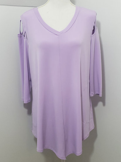 IC Collection by Donnie K Purple Lattice Shoulder V Neck Long Sleeve Tunic