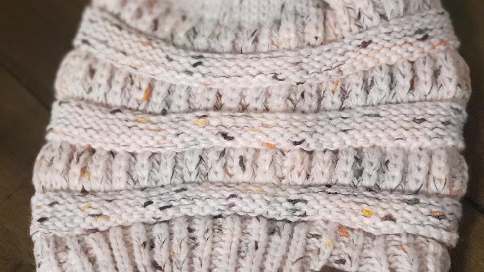 CC Beanie Ponytail Messy Bun Hats Tan Speckled
