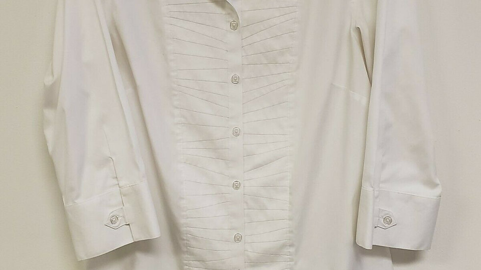 Chico's White Cotton No Iron Button Front Long Sleeve Blouse Top